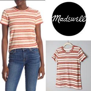 MADEWELL Striped Knit Shrunken T-Shirt Size Medium